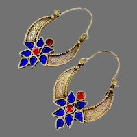 Hoop Earrings, Blue, Red, Kuchi Earrings, Brass, Vintage Earrings, Middle Eastern, Ethnic Jewelry, Big, Tribal, Afghan, Boho
