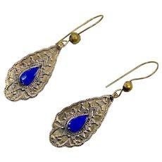 Lapis Earrings, Blue Stone, Vintage Earrings, Brass, Middle Eastern, Kuchi, Afghan Jewelry, Ethnic Tribal