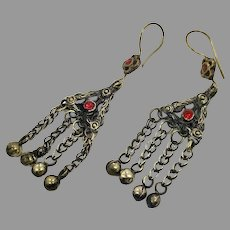 Gypsy Earrings, Afghan, Red Jewels, Vintage Earrings, Middle Eastern, Brass, Mixed Metal, Ethnic Tribal, Long, Boho Statement