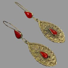 Boho Earrings, Red Jasper, Kuchi, Gypsy, Afghan, Brass, Vintage Earrings, Middle Eastern, Pierced Dangle, Ethnic, Composite Stone