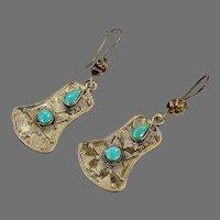Afghan Earrings, Turquoise, Brass, Kuchi, Gypsy, Vintage Earrings, Middle Eastern, Kazakh, Kazakhstan, Dangle, Composite Stone