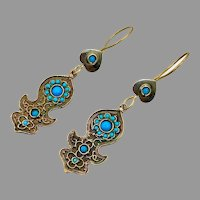 Afghan Earrings, Turquoise, Blue, Kuchi, Gypsy, Vintage Earrings, Bohemian, Brass, Dangle, Long