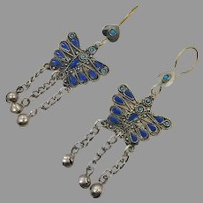 "Butterfly Earrings, Afghan, Lapis. Blue, Turquoise, Vintage, Kuchi Gypsy, 4"" Long, Boho Jewelry, Bohemian, Brass, Big, Statement"