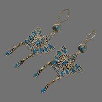 "Butterfly Earrings, Afghan, Blue, Turquoise, Vintage, Kuchi Gypsy, 4"" Long, Boho Jewelry, Bohemian, Brass, Big, Statement"