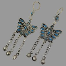 Butterfly Earrings, Afghan, Turquoise, Vintage, Kuchi Gypsy, Boho Jewelry, Bohemian, Brass, Big, Statement, Long