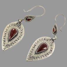 Carnelian Earrings, Kuchi Earrings, Gypsy, Vintage Jewelry, Middle Eastern, Boho, Silver, Pierced Dangle, Afghan Jewelry