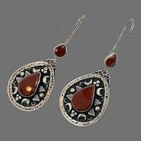 Carnelian Earrings, Kuchi Earrings, Gypsy, Crescent Moon, Vintage Jewelry, Middle Eastern, Boho, Silver, Pierced Dangle, Afghan Jewelry