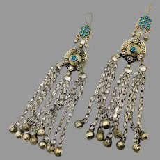 "Big Kuchi Earrings, Afghan, Turquoise, Middle Eastern, Gypsy, Vintage Earrings, 6 1/2"" Long, Ear Weights, Silver, Ethnic, Tribal, Huge"