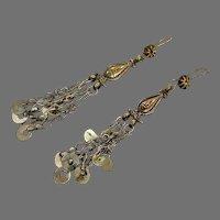 """Afghan Earrings, Long Dangles, Vintage Earrings, Brass, 4"""" Long, Kuchi, Gypsy, Middle Eastern"""