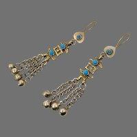 "Boho Earrings, Turquoise, Brass, Chains, Afghan, Kuchi, Vintage Earrings, Gypsy, 4"" Long, Middle Eastern, Big Bohemian, Statement, Festival"