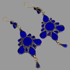 """Blue Earrings, Kuchi Earrings, Middle Eastern, Vintage Earrings, 4"""" Long, Jewels, Pierced, Silver, Tribal, Afghan"""