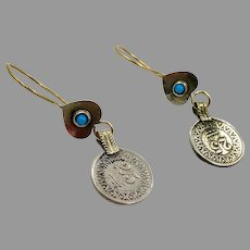 Boho Earrings, Coin Earrings, Vintage Earrings, Kuchi Gypsy, Turquoise, Afghan, Middle Eastern, Bohemian