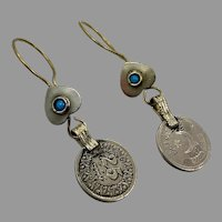 Coin Earrings, Turquoise, Middle Eastern, Vintage Earrings, Silver, Brass, Afghan, Kuchi, Gypsy, Boho, Ethnic Tribal, Pierced, Dangle