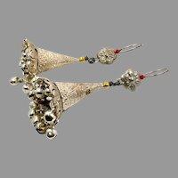 Afghan Earrings, Long Dangles, Cones, Vintage Earrings, Silver, Embossed, Jhumka Earrings, Kuchi Gypsy, Middle Eastern