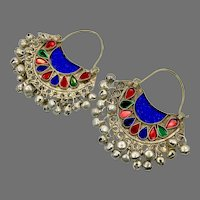 Hoop Earrings, Big, Boho, Afghan, Kuchi Earrings, Jewels, Vintage Earring, Middle Eastern, Blue, Red, Pierced, Silver