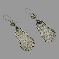 Etched Earrings, Silver, Afghan, Vintage Earrings, Middle Eastern, Dangle, Kuchi, Pierced, Gypsy, Festival Jewelry, Ethnic, Tribal