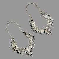Hoop Earrings, Silver Metal, Etched, Vintage Earrings, Gypsy, Boho, Ethnic Tribal, Pierced, Bollywood, Middle Eastern, Afghan, Kuchi
