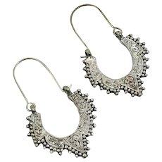 Hoop Earrings, Silver Metal, Etched, Vintage Earrings, Gypsy, Boho, Ethnic Tribal, Pierced, Bollywood, Middle Eastern, Afghan, Kuchi