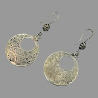 Etched Silver Earring, Afghan Jewelry, Vintage Earrings, Kuchi, Pierced, Dangles, Gypsy, Boho, Festival Jewelry, Ethnic, Tribal, Large