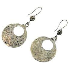 Etched Silver Earring, Afghan Jewelry, Vintage Earrings, Kuchi, Pierced, Dangles, Gypsy, Boho, Festival Jewelry, Ethnic, Tribal, Large