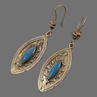 Brass Earrings, Turquoise, Gypsy, Vintage Earrings, Middle Eastern, Kazakh, Kazakhstan, Afghan, Kuchi, Boho, Bohemian, Festival