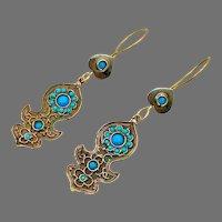 Afghan Earrings, Turquoise, Blue, Kuchi, Gypsy, Vintage Earrings, Bohemian, Brass, Dangle, Long