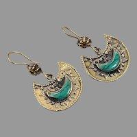 Afghan Earrings, Brass, Green Jasper, Crescent, Vintage Earrings, Pierced, Middle Eastern, Kuchi, Boho, Gypsy, Composite Stone, Big