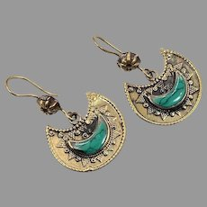 Afghan Earrings, Brass, Green Jasper, Crescent, Vintage Earrings, Pierced, Middle Eastern, Kuchi, Boho, Gypsy, Composite Stone, Big