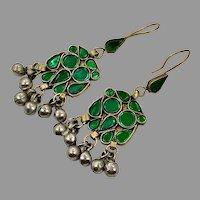 Green Earrings, Afghan Earrings, Vintage Earrings, Middle Eastern, Mixed Metal, Kuchi, Nomadic Jewelry, Ethnic, Long