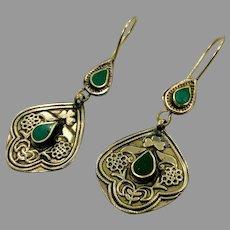 Afghan Earrings, Green Stone, Vintage Earrings, Kuchi Gypsy, Boho, Big, Festival, Statement, Brass, Dangle, Kazakh Kazakhstan
