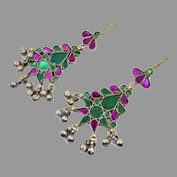 Boho Earrings, Afghan, Gypsy, Vintage Earrings, Large, Middle Eastern, Purple, Green, Jeweled, Kuchi, Bohemian