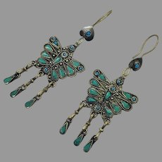 Butterfly Earrings, Afghan, Turquoise, Green, Vintage, Kuchi Gypsy, Boho Jewelry, Bohemian, Brass, Big, Statement, Long, Pierced, Dangle