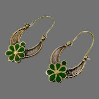 Gypsy Hoops, Kuchi Earrings, Middle Eastern, Brass, Green, Vintage Earrings, Afghan Jewelry, Festival, Ethnic, Tribal