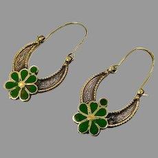 Gypsy Hoops, Kuchi Earrings, Middle Eastern, Brass, Green, Vintage Earrings, Afghan Jewelry, Festival, Ethnic, Tribal
