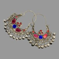 Gypsy Earrings, Kuchi Hoops, Big Dangles, Silver, Green, Red, Blue, Vintage, Festival, Ethnic Tribal, Afghan Jewelry, Boho