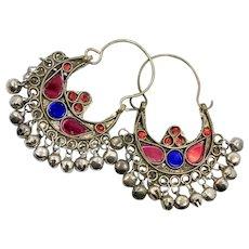 Gypsy Earrings, Kuchi Hoops, Big Dangles, Silver, Green, Red, Blue, Vintage, Festival, Ethnic Tribal, Afghan Jewelry, Boho