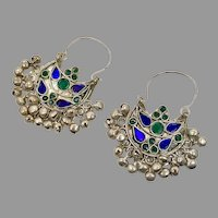 Gypsy Earrings, Kuchi, Silver Hoops, Afghan, Vintage Earrings, Jewels, Blue, Green, Middle Eastern, Pierced, Ethnic Jewelry