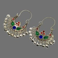Gypsy Earrings, Kuchi, Silver Hoops, Afghan, Vintage Earrings, Jewels, Red, Middle Eastern, Green, Blue, Pierced, Ethnic Jewelry