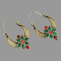 Gypsy Hoops, Kuchi Earrings, Brass, Red, Green, Vintage Earrings, Middle Eastern, Festival, Ethnic Tribal, Afghan Jewelry
