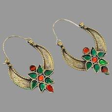 Gypsy Hoops, Kuchi Earrings, Brass, Red, Green, Vintage Earrings, Middle Eastern, Festival, Ethnic Tribal, Afghan Jewelry