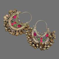 Kuchi Earrings, Hoops, Afghan, Boho, Fuchsia Pink, Red, Middle Eastern, Ear Weights, Old, Pierced, Patina, Ethnic Jewelry