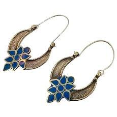 Hoop Earrings, Turquoise, Kuchi Earrings, Brass, Vintage Earrings, Middle Eastern, Ethnic Jewelry, Big, Tribal Afghan, Boho