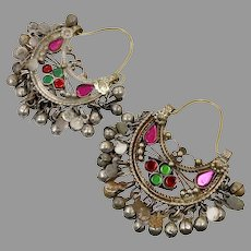 Kuchi Earrings, Boho, Gypsy, Vintage Hoops, Afghan, Ear Weights, Pink, Red, Green, Middle Eastern, Pierced, Ethnic Jewelry