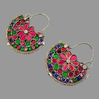 Gypsy Earrings, Vintage Hoops, Afghan, Boho, Jewels, Pink, Blue, Green, Middle Eastern, Pierced, Ethnic