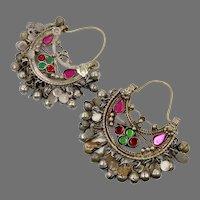 Kuchi Earrings, Boho, Gypsy, Vintage Hoops, Afghan, Ear Weights, Pink, Red, Green, Middle Eastern, Pierced, Ethnic Jewelry