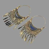 "Lapis Earrings, Big Hoops, Kuchi, Brass, Vintage Earrings, 3"" Long, Middle Eastern, Big, Large, Afghan Jewelry, Ethnic"