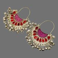 Hoop Earrings, Big, Boho, Afghan, Kuchi Earrings, Jewels, Vintage Earring, Middle Eastern, Red, Pink, Pierced, Silver