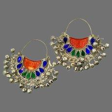 Hoop Earrings, Afghan, Red, Blue, Green, Kuchi, Vintage Earrings, Middle Eastern, Large, Silver