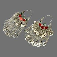Gypsy Earrings, Hoop Earrings, Big, Boho, Kuchi Earrings, Ear Weights, Red, Green, Silver Hoops, Festival, Afghan, Bohemian, Belly Dance