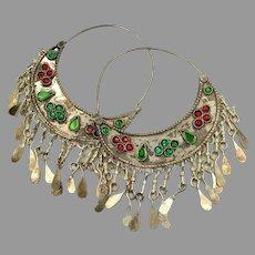 Gypsy Hoops, Kuchi Earrings, Silver, Red, Vintage Earrings, Middle Eastern, Green, Festival, Ethnic Tribal, Afghan, Boho Statement